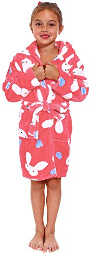 Simplicity Children's Hooded Coral Velvet Bath Robe with Pockets