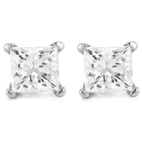 2 Carat 18K White Gold Solitaire Diamond Stud Earrings Princess Cut 4 Prong Push Back (H-I Color, I3 Clarity)