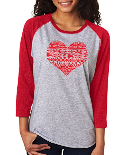 SignatureTshirts Women's Valentines Day Geometric Bohemian Heart Design 3/4 Tee