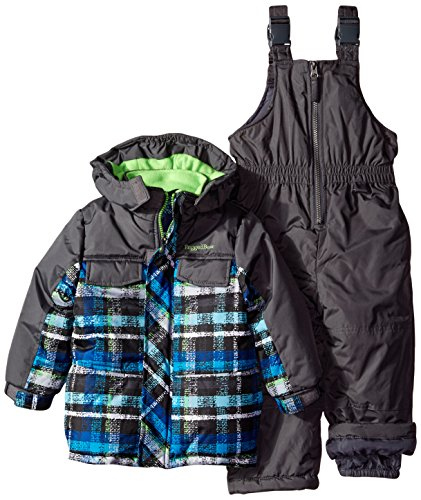 Rugged Bear Boys' Snowsuit with Plaid Coat Two-Piece Set