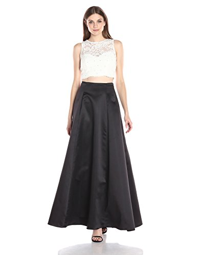 Xscape Women's 2 Piece Lace Top with Solid Ballgown Skirt