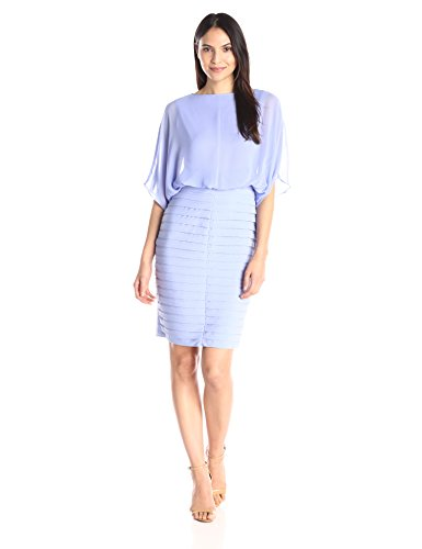 Adrianna Papell Women's Draped Blouson with Banded Jersey Skirt