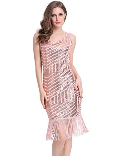 KAYAMIYA Women's 1920s Full Sequined Geometric Pattern Fringe Gatsby Flapper Dress