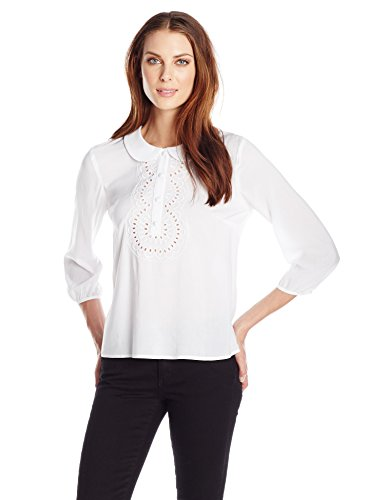 BCBGeneration Women's Embroidered Half Placket Top