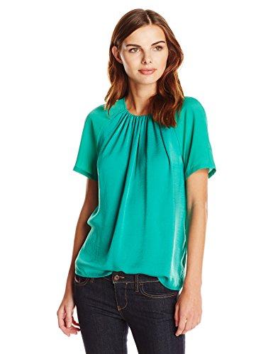 Lark & Ro Women's Short-Sleeve Gathered Neck Top