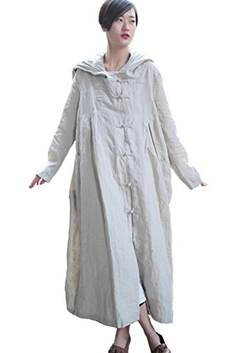 Mordenmiss Women's Long Sleeve Hooded Frog Button Maxi Coat With Two Pockets