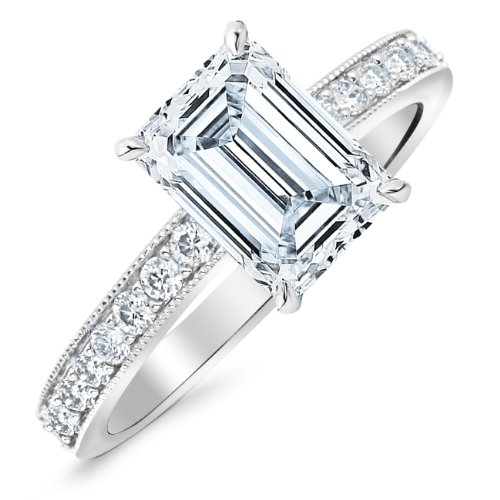 0.82 Carat 14K Classic Side Stone Pave Set With Milgrain Diamond Engagement Ring with a 0.52 Carat Emerald Cut F Color SI1 Clarity Center Stone