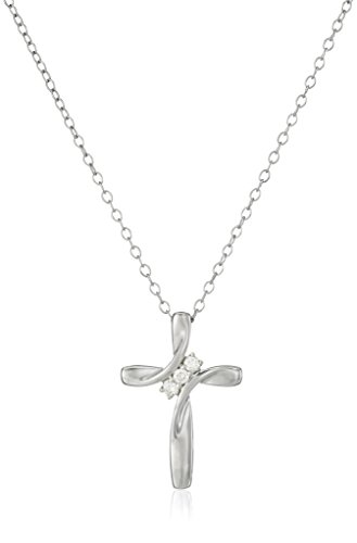 Women's Sterling Silver Diamond Three-Stone Cross Pendant Necklace (1/10 cttw, I-J Color, I2-I3 Clarity), 18″