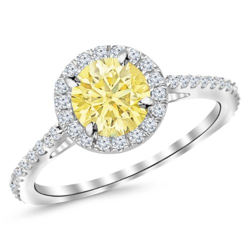 1.15 Carat 14K White Gold Classic Halo Diamond Engagement Ring with a 0.75 Carat Natural Untreated Yellow Diamond Center (Heirloom Quality)