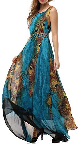 Wantdo Women's Peacock Printed Paris Bohemian Summer Maxi Dress Plus size