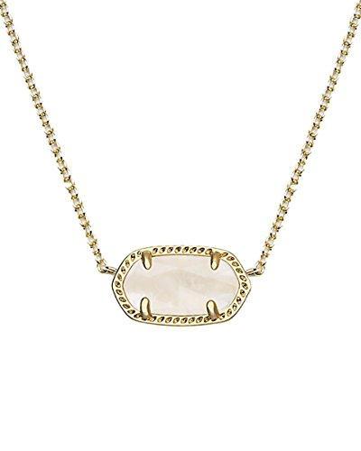 Kendra Scott Signature Elisa Pendant Necklace in White & 14k Gold Plated