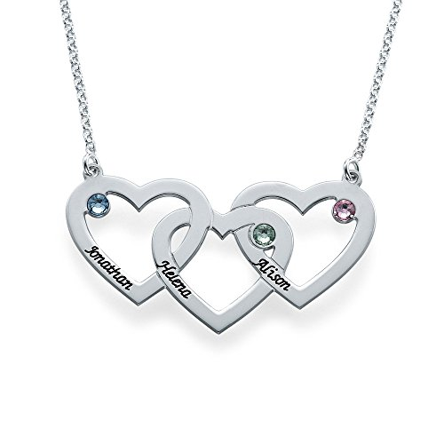 Intertwined Hearts Necklace with Birthstones – Custom Made with Any Name!