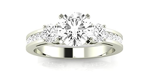 1.1 Carat GIA Certified Round Cut 14K White Gold Channel Set 3 Three Stone Diamond Engagement Ring (D-E Color VS1-VS2 Clarity)