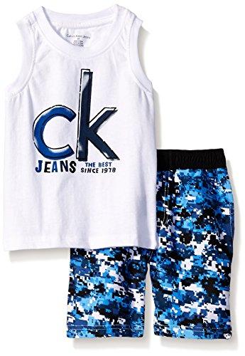 Calvin Klein Little Boys' 2 Piece Swim Set Tank Top and Printed Swim Short