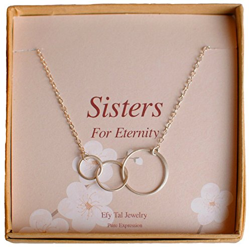 Three Sisters Necklace, Sterling Silver Triple Interlocking Circles Infinity on Card