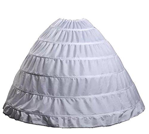 Wantdo Drawstring Wedding Bridal Petticoat 6 Hoops Larges Full White