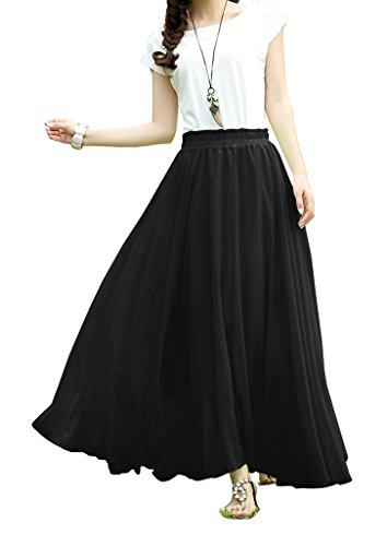 V28 Women Full/ankle Length Elastic Pleated Retro Maxi Chiffon Long Skirt