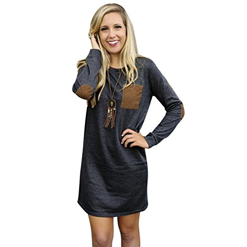 Womens Long Sleeve Loose Irregular Hem Autumn Dress