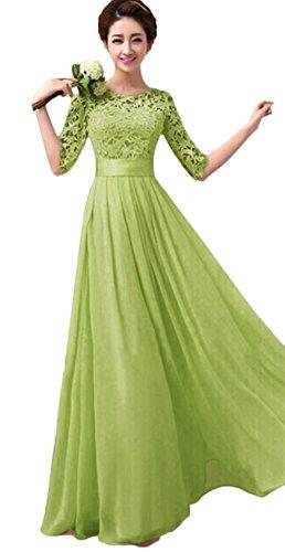 1990s Women Chiffon Lace Patchwork Long Evening Maxi Dress