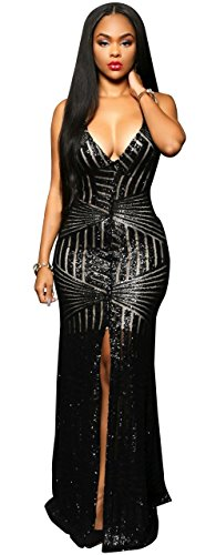Kearia Women Sexy Halter Deep V-Neck Sequin Split Bodycon Cocktail Party Dress Black Medium