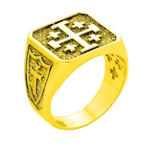 Solid 14k Yellow Gold Crusaders Band Jerusalem Cross Ring for Men