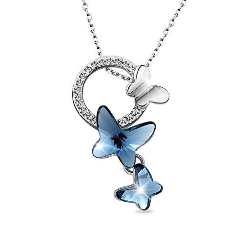 """T400 Jewelers """"Dream Chasers"""" Love Gift Swarovski Elements Crystal Butterfly Pendant Necklace Women's Jewelry"""