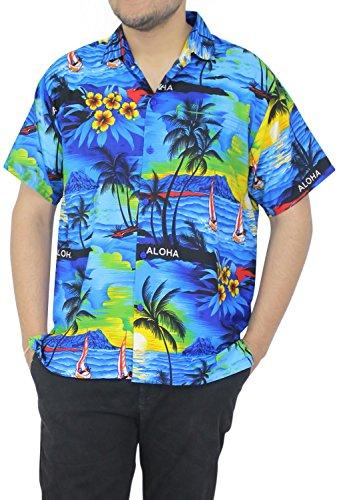 La Leela Hawaiian Shirt For Men Short Sleeve Front-Pocket Beach Aloha Surf Blue