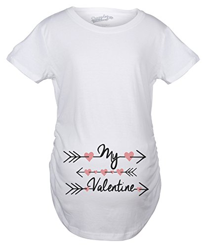 Maternity My Valentine Hearts and Arrows Valentines Day Pregnancy T shirt