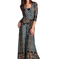 On Trend Women's Paris Bohemian 3/4 Sleeve Faux Wrap Long Maxi Resort Dress