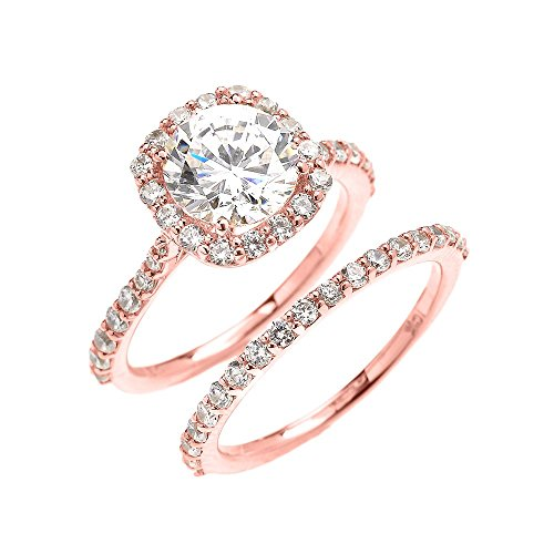 14k Rose Gold 3 Carat CZ Solitaire Halo Proposal Engagement And Wedding Ring Set