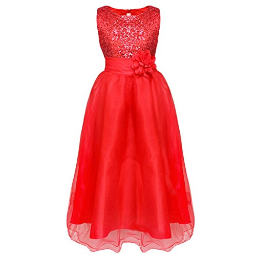 YiZYiF Kids Girl's Sequined Wedding Dress Bridesmaid Formal Birthday Party Gowns