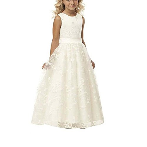 A line Wedding Pageant Lace Flower Girl Dress with Belt 2-12 Year Old