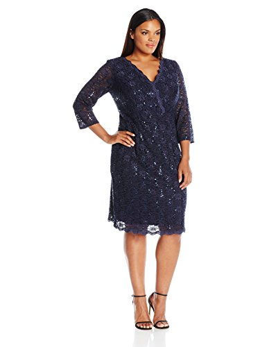 Alex Evenings Women's Plus Size Short Lace Dress with Illusion Sleeves