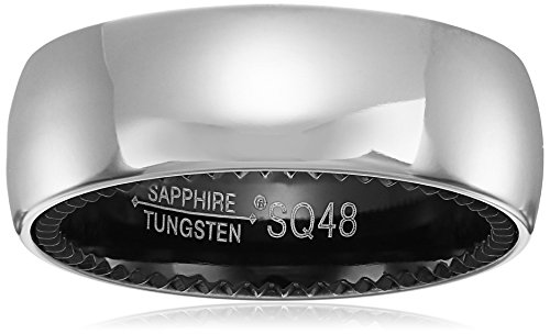 Sapphire Tungsten and Titanium 8mm Black Interior Classic Satin Finish Comfort Fit Wedding Bands Rings for Men