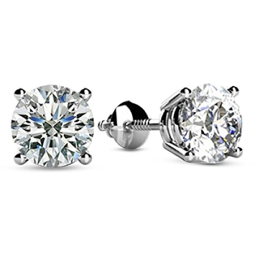 1/2 – 2 Carat Total Weight Round Diamond Stud Earrings 4 Prong Screw Back (I-J Color I2 Clarity)