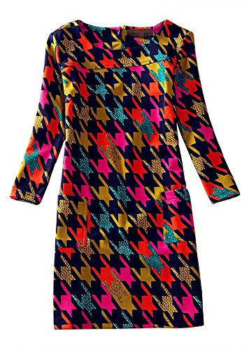 Women Vintage Loose Spring Floral Print Long Sleeve A-line Tunic Shift Casual Dress