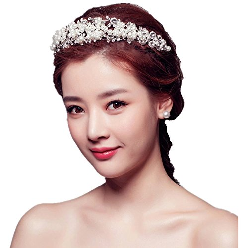 Meiysh Lady Pearl Diamond Crown Wedding Bridal Head Wear Hair Band Headdress Party Accessories