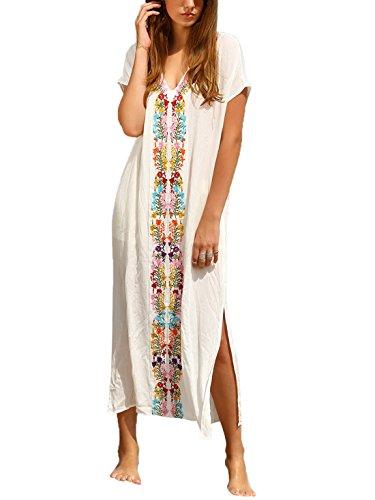 Milumia Women's Bohemian Floral Embroidery Split Maxi Dress Cover Ups