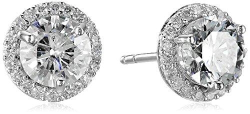Platinum over Sterling Silver VG Moissanite Framed Round Stud Earrings