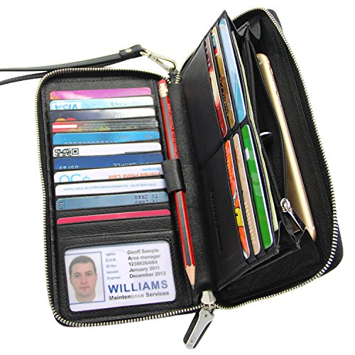 Women RFID Blocking Wallet Genuine Leather Zip Around Clutch Large Travel Purse