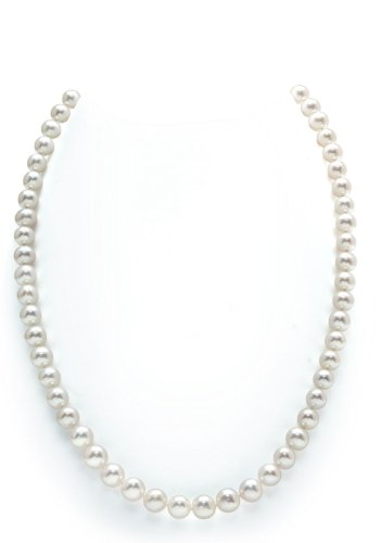 14K Gold 6.5-7.0mm White Freshwater Cultured Pearl Necklace, 20″ Matinee Length