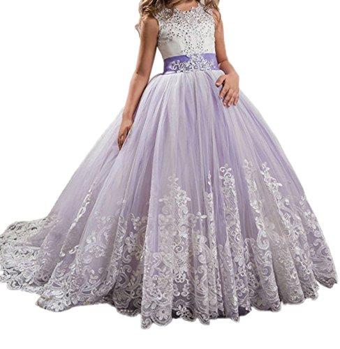 BessDress Lace Flower Girl Dresses For Wedding Tulle First Communion Dresses BD222