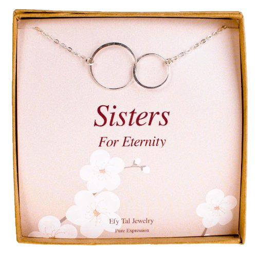 Sisters Necklace, Efy Tal Jewelry Sterling Silver Infinity Interlocking Double Circles on Card