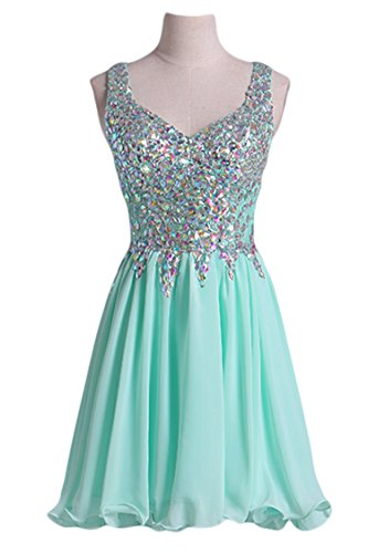 VogueDress Women's Short/Mini Halter A Line/Princess Homecoming Dresses Beaded Bodice