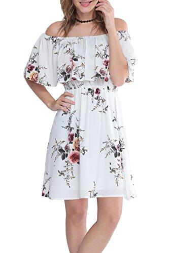 Zattcas Womens Off the Shoulder Dress Ruffle Floral Print Casual Mini Dress