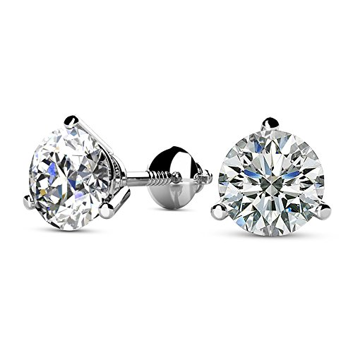 1/2 – 2 Carat Total Weight Round Diamond Stud Earrings 3 Prong Screw Back (H-I Color VS1-VS2 Clarity)