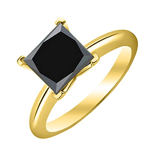 1/2 – 5 Carat Total Weight Princess 14K Yellow Gold Black Diamond Ring (AAA Quality)