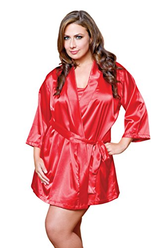 iCollection Women's Plus-Size Satin Robe