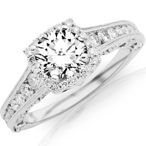 1.75 Carat Designer Halo Channel Set Round Diamond Engagement Ring with Milgrain with a 1 Carat I-J I2 Center
