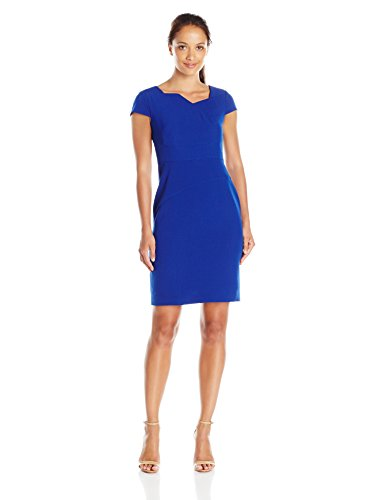 Adrianna Papell Women's Petite Origami Asym Neck Detail Fitted Sheath